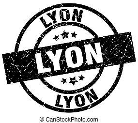 Lyon black round grunge stamp