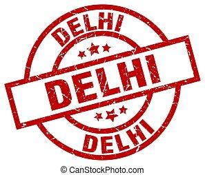 Delhi red round grunge stamp