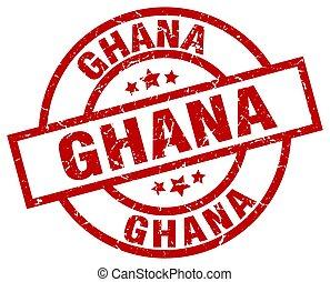 Ghana red round grunge stamp