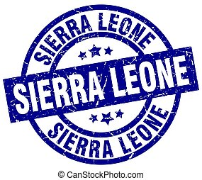 Sierra Leone blue round grunge stamp