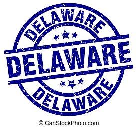 Delaware blue round grunge stamp