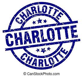 Charlotte blue round grunge stamp