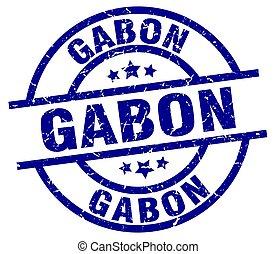 Gabon blue round grunge stamp