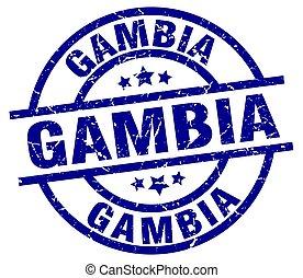 Gambia blue round grunge stamp