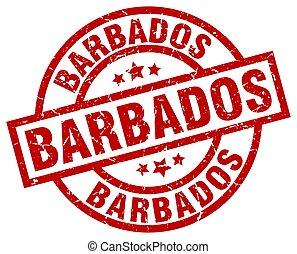 Barbados red round grunge stamp