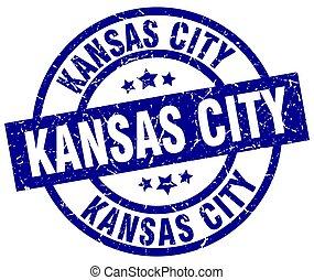 Kansas City blue round grunge stamp