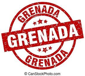 Grenada red round grunge stamp