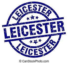 Leicester blue round grunge stamp