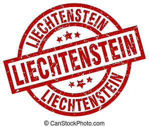 Liechtenstein red round grunge stamp