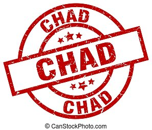 Chad red round grunge stamp