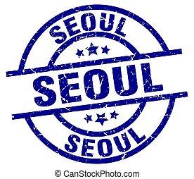 Seoul blue round grunge stamp