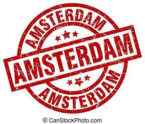 Amsterdam red round grunge stamp
