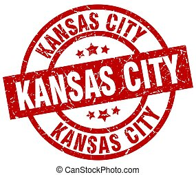 Kansas City red round grunge stamp
