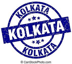 Kolkata blue round grunge stamp