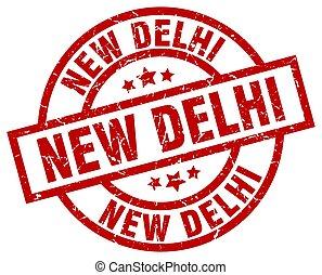 New Delhi red round grunge stamp