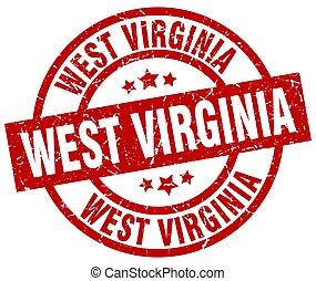 West Virginia red round grunge stamp