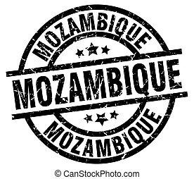 Mozambique black round grunge stamp