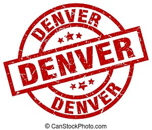 Denver red round grunge stamp