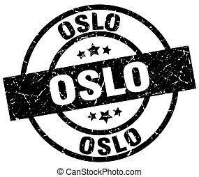 Oslo black round grunge stamp