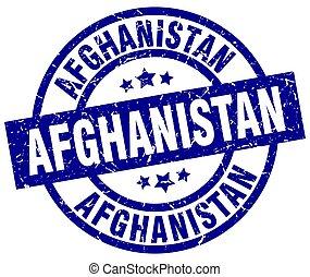 Afghanistan blue round grunge stamp
