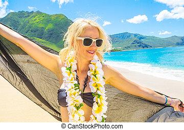 Woman with Hawaiian Lei