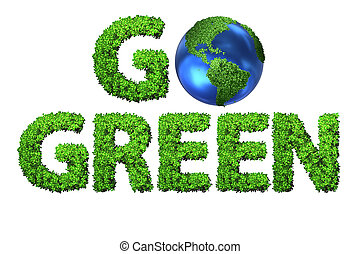 Go Green environmental concept with letters - 3d rendering