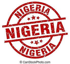 Nigeria red round grunge stamp
