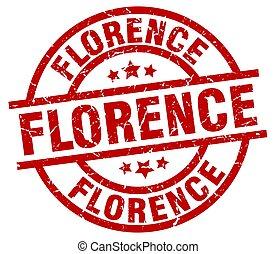 Florence red round grunge stamp
