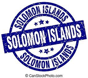 Solomon Islands blue round grunge stamp