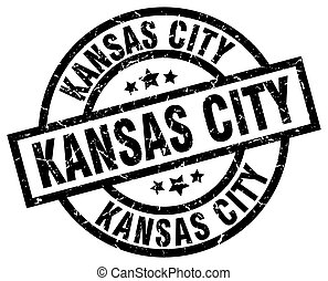 Kansas City black round grunge stamp