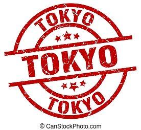 Tokyo red round grunge stamp
