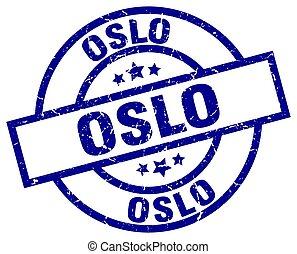 Oslo blue round grunge stamp
