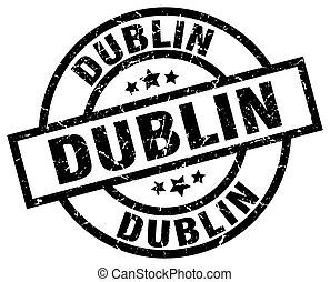 Dublin black round grunge stamp