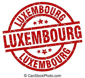 Luxembourg red round grunge stamp