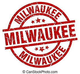 Milwaukee red round grunge stamp