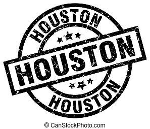 Houston black round grunge stamp