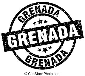 Grenada black round grunge stamp