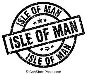Isle Of Man black round grunge stamp