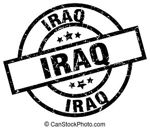 Iraq black round grunge stamp