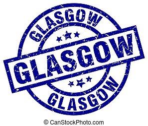 Glasgow blue round grunge stamp