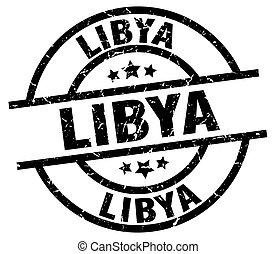 Libya black round grunge stamp