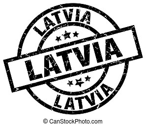 Latvia black round grunge stamp
