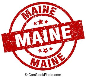 Maine red round grunge stamp