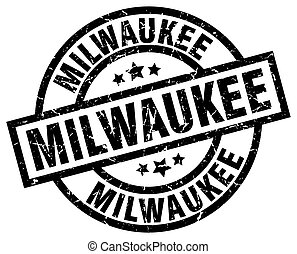 Milwaukee black round grunge stamp