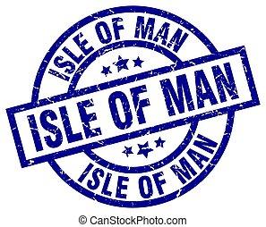 Isle Of Man blue round grunge stamp