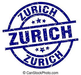 Zurich blue round grunge stamp