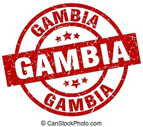 Gambia red round grunge stamp