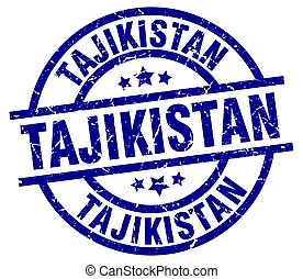Tajikistan blue round grunge stamp