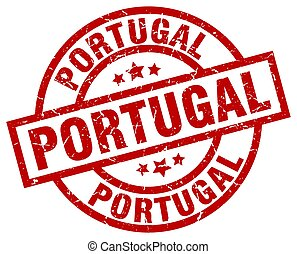 Portugal red round grunge stamp