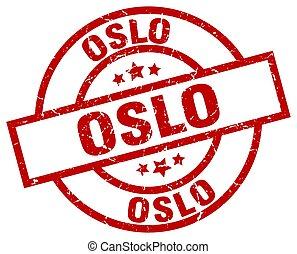 Oslo red round grunge stamp